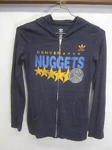 EUC! Denver Nuggets Hoodie Sweatshirt thin lightweight Adidas tri-blend sz S