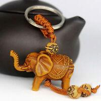 KE_ FP- CO_ Charm Lucky Elephant Carving Wooden Pendant Keychain Key Ring Chai