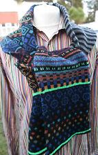 Paul Smith Mens Wool Fairisle Scarf Made Scotland Black & Neon Green RRP £135