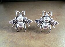 Handmade Oxidized Silver Bee Cuff Links