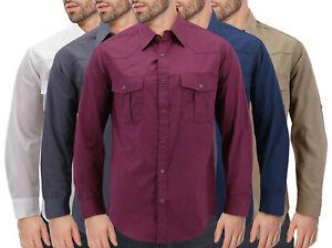Men���s Casual Cowboy Long Sleeve Pearl Snap Button Down Western Dress Shirt