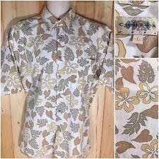 Men's Campia Moda Hawaiian Casual Short Sleeve Shirt - Beige Floral Print Size L
