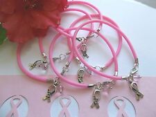 6 CT.  PINK BREAST CANCER AWARENESS   BRACELETS  W/ AWARENESS HOPE RIBBON
