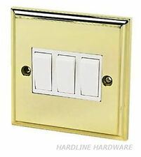 Victorian style 3 gang 2 way light switch Polished Brass/Gold white inserts