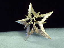 Plate Brooch Pin Signed Jagged Fish Jj Starfish Abstract Star Brushed Silver