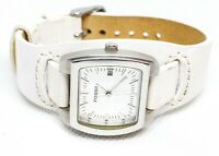 Fossil JR-8619 Women's Casual Watch white leather adjustable cuff bund band date