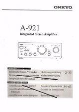 Onkyo  Bedienungsanleitung user manual owners manual  für A- 921 deutsch Copy