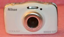 Nikon Digital Camera CoolPix S33 White Parts Powers on then off Waterproof