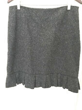 Cue Grey Fleck straight skirt with kick pleat border S12
