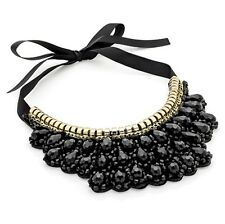 Black Choker Tie Necklace with Bead droplets