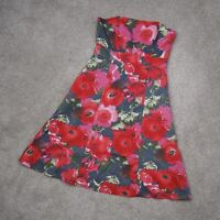 Laura Ashley Floral Bandeau Dress Size 12 Red Pink Boned Strapless Knee Length
