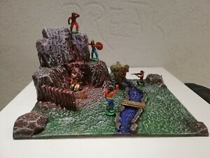 Wild-West Felsen Lager Grotte  Diorama  für 7cm Elastolin, DDR Indianer, Timpo