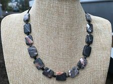 Marble Stone and Czech Glass Beads Handmade Short Necklace of Black Redline