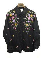 Florissant 3X Black Beaded Floral Blouse Long Sleeve Shirt Purple Pink Flowers
