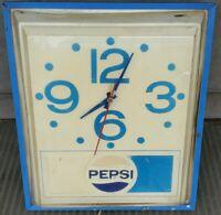 Vintage 1970s Pepsi Cola Lighted Clock PI-1354 - 16 x 13 x 6