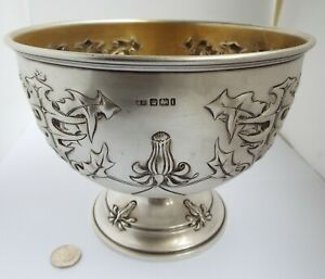BEAUTIFUL LARGE HEAVY ENGLISH ANTIQUE 1901 STERLING SILVER PEDESTAL FRUIT BOWL