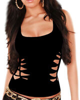 Womens Ripped Cut & Braided Racerback Tank Top Sexy Gothic Clubwear Party Shirt