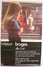 BELGIQUE – BRUGES – VILLE D'ART – SNCB – AFFICHE ORIGINALE – CIRCA 1970