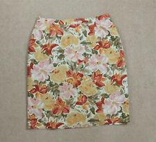 Vintage St Michael 1980s Floral Linen Blend Pencil Skirt