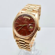 Rolex Day Date 1803 Rose Gold with Stella Ox Blood Dial 1973 RARE VINTAGE