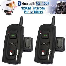 2x 1200M BT Bluetooth Motorcycle Motorbike Helmet Interphone Headset V2 2 Riders