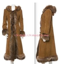 DOLCE GABBANA  RIBBED CORDUROY FUR TRIM HOODED JACKET  MAXI COAT -IT 44 NEW