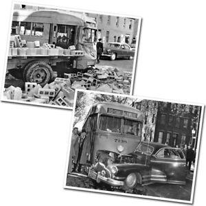 Trolley Wreck Photos - BTC PCC Streetcar Vehicle Crash Baltimore 1949 (2x 8x10s)
