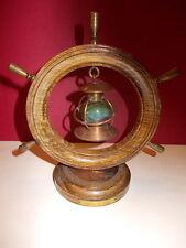 Miniatuur houten schip roer met koperen details - stormlamp in koper - Knocke