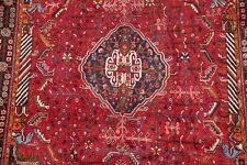 Vintage Geometric Tribal DYNASTY Abadeh Area Rug Hand-made Oriental RED 5'x8'
