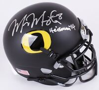 Marcus Mariota Signed Oregon Ducks Matte Black Mini-Helmet Inscribed Heisman 14