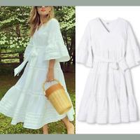 NWT Lisa Marie Fernandez Target White Ric Rac Flare Sleeve Dress [ SZ XXS ] E961