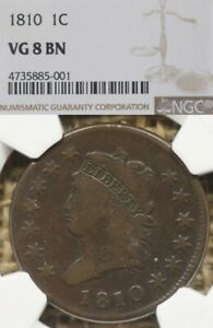 1810 1C NGC VG8 Classic Head Large Cent - Nice Planchet