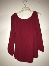 Sanctuary Red Off Shoulder Slit Sleeve Top Blouse Women Size L Stylish