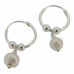 Sterling Silver Hoop Earrings with Beads and Freshwater Pearl by Touch Jewellery