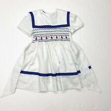 Vintage 80s Polly Flinders Nautical Smocked Dress Sz 5 Girls White Sailboats
