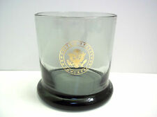 Smoky grey whiskey tumbler water glass UNITED STATES CONGRESS SEAL in gold