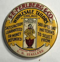 Perlberg Tailors Celluloid Pocket Mirror Advertising Mini Sign Chicago