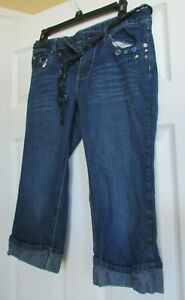 Girls Faded glory 16 Capri blue jean adjustable waist pants w/embrodery