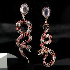 Boucle d'Oreilles CLIP Plaqué Or Rouge Gris Email Serpent Longue Pendant QD3