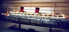 """QUEEN ELIZABETH Ocean Liner 40"""" With Lights - Built Handmade Wooden Ship Model"""