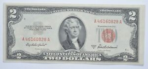 1953-A $2 Two Dollar US Red Seal Jefferson Note Bill US Currency Crisp UNC *0002