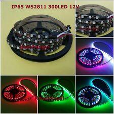 5M Waterproof WS2811 IC 5050RGB Dream Color 30LED/M DC12V Pixel Strip Black PCB