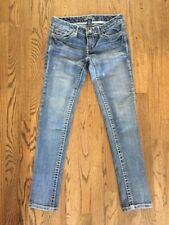VANITY Distressed Stretch Blue Jean Denim 5 Pocket Low Rise Jeans 27W / 31L
