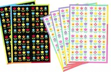 6 sheets Tiny Colorful FLOWERS Stickers!