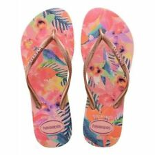 Havaianas Slim Women Tropical Blue Camo Rose Black Ivory Flip Flops All Sizes