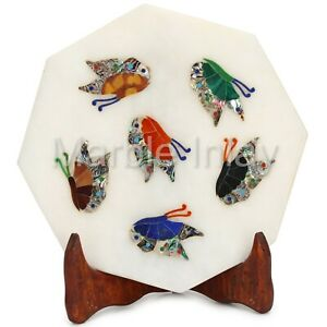 Decorative Wall Plaques Marble Inlay Tile With Butterfly Design Pietra Dura Art