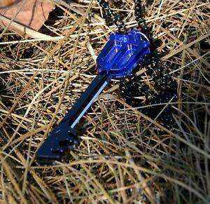 Kingdom Hearts Keyblade Necklace Black and  Blue acrylic Pendant