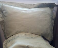 CHRIS MADDEN Hotel queen/king pillow shams sage green embroidered embossed EUC