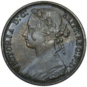 1877 PENNY - VICTORIA BRITISH BRONZE COIN - V NICE