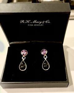 EFFY 925 Sterling Silver Pear Onyx Amethyst Earrings